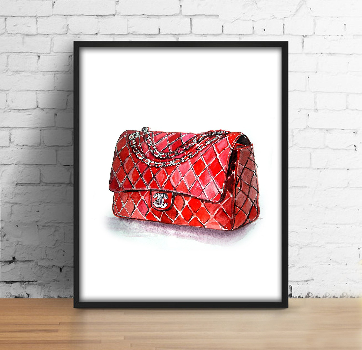 coco chanel tasche print chanel red bag digital print. Black Bedroom Furniture Sets. Home Design Ideas
