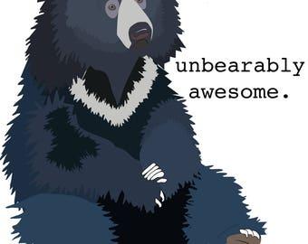"""Sloth Bear """"Unbearably Awesome"""" Mug/Water Bottle"""
