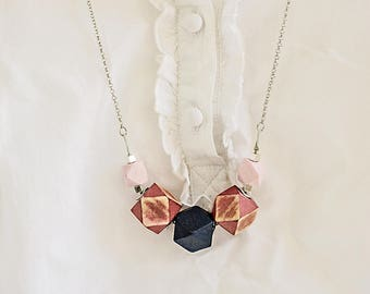 Pink geometric handcrafted necklace Chunky blue Geometric necklace Big bold wood jewelry Eco friendly handpainted jewelry
