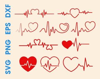 Heart beat svg Heart beat clipart Heart beat print Heart beat decal Digital