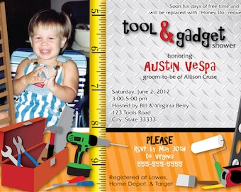 Tool & Gadget Shower Customizable Invitation, digital printable 5x7 file