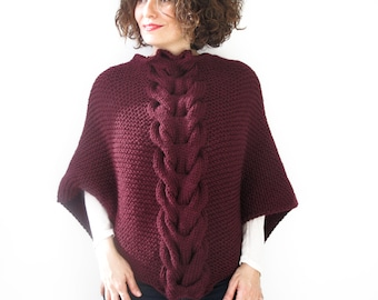 Burgundy Shawl With Cable Knit by Afra