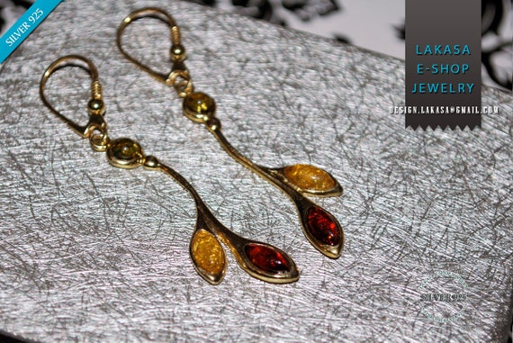 Baltic Amber Earrings Sterling Silver 925 Gold plated Jewelry Leaves and Regeneration Best Ideas Gift Woman Natural Gemstones Free Shipping