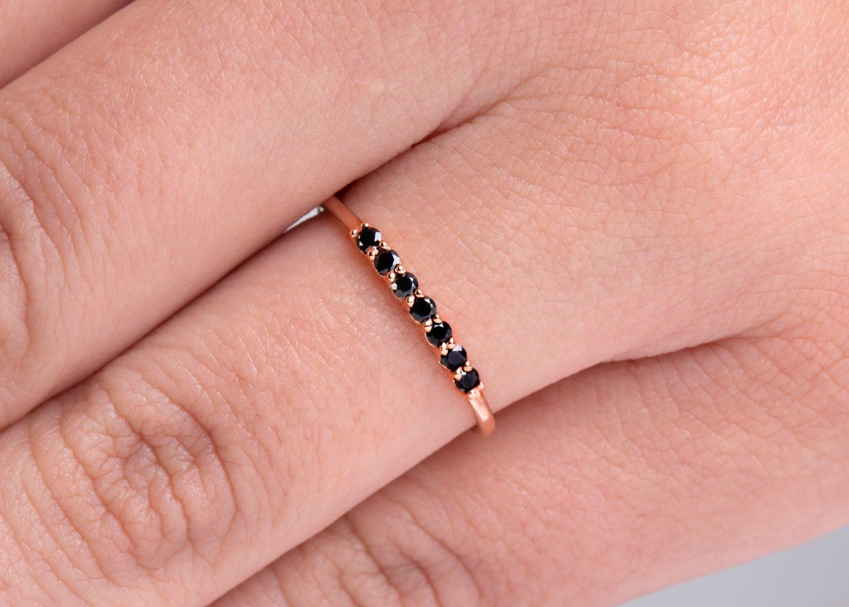 Black Diamonds solid gold Minimal ring Classic ring