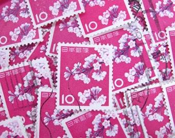 Cherry blossom - vintage Japanese postage - pink