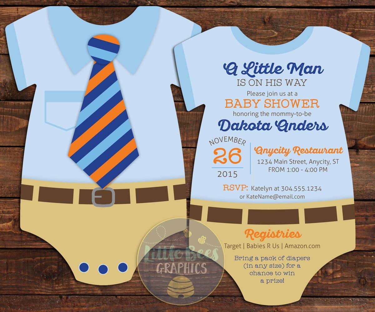 Little Mister Invitation printed baby shower invites tie