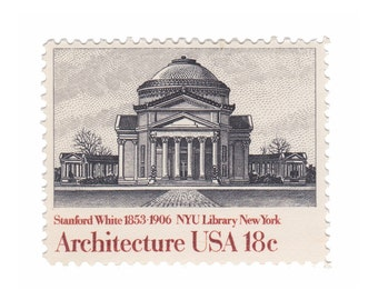 10 Unused Vintage Postage Stamps - 1981 18c NYU Library by Stanford White - Architecture Series - Item No. 1928