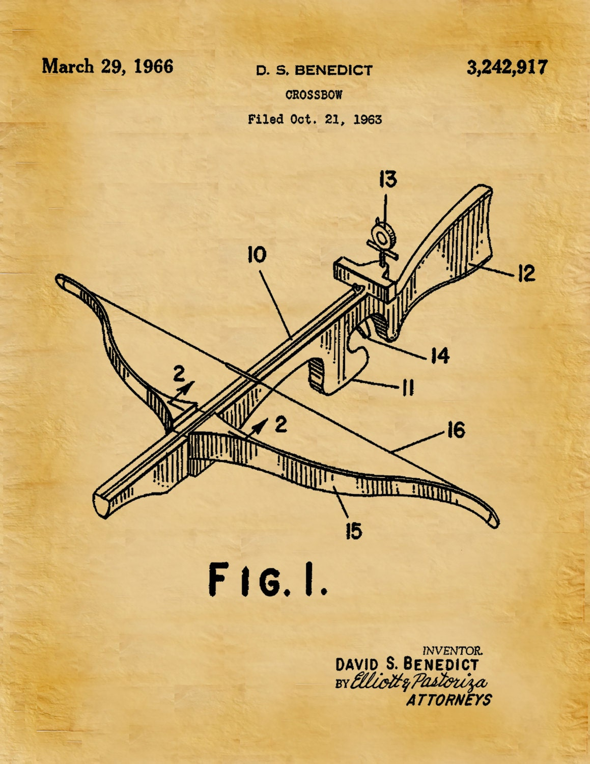 Patent 1966 Crossbow - Art Print - Poster - Hunting - Weapon - Man ...