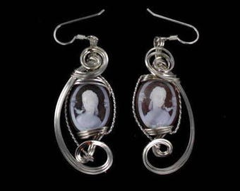 Sterling Silver Cameo Earrings --- .925 sterling silver --- carved in Italy Wire Wrapped in Silver Wire