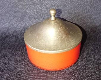 Orange glass and silver lid. Ethnic trinket pot.