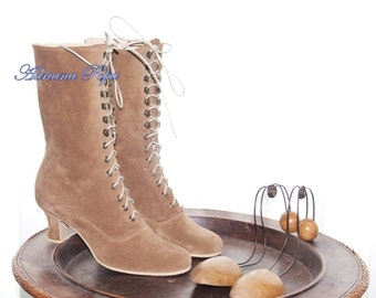 Victorian Boots , Toffee Beige Boots , Lace up Ankle boots , Granny Booties , Comfort shoes