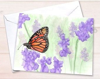 Monarch butterfly notecard, Watercolor notecards, personal stationery set, butterfly garden stationery, art reprint, eco friendly stationery
