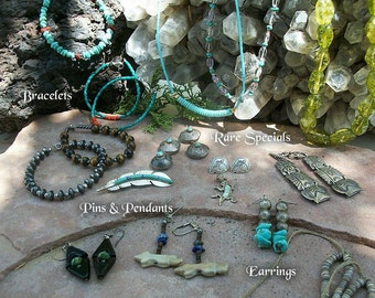SALE Native American Jewelry Choice ~ Earrings Bracelets Neckaces ++ Turquoise ~ Sterling Silver ~ Vintage ~ Various Items & Prices