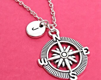 Compass Necklace, Custom Travel Necklace, Compass Charm Pendant, Compass Necklace Sterling, Gift For Friend, Going Away, No Matter Where