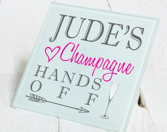 Personalised Name Champagne Drinks Gift Wooden or Glass Coaster For Christmas Birthday etc