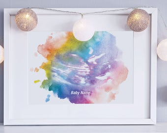 Framed - Personalised baby scan water colour print -  Pregnancy Gift, New Mum Gift, Pregnancy Announcement, Mum Present, Baby Shower Gift