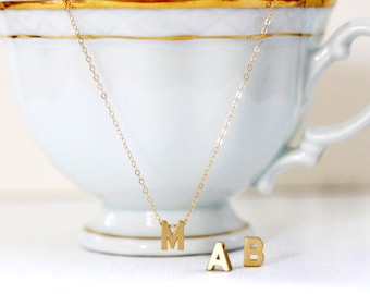 Gold Initial Necklace Gold Letter Necklace Personalized Necklace 14k Gold Filled Initial Charm Initial Pendant