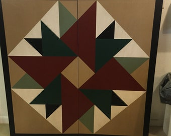 PRiMiTiVe Hand-Painted Barn Quilt - 4' Double Aster Pattern (Forest Version)