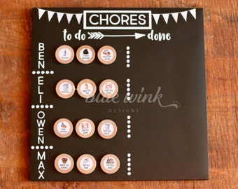 Kid's PICTURE Chore Chart, Magnetic Chart, Personalized Chore Chart, Chalkboard Chore Chart, Family Chore Board, Task Chart, Daily Routine