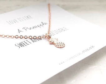 Tiny Rose Gold Pineapple Necklace, Rose Gold pineapple necklace, tiny pineapple necklace,  pineapple necklace, dainty pineapple necklace