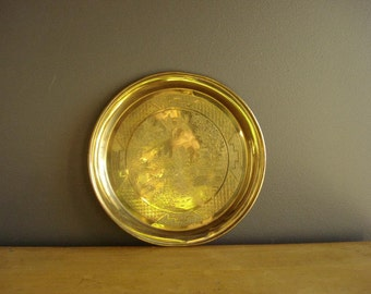 Small Brass Tray - Small Embossed Brass Tray - Ornate Round Brass Tray