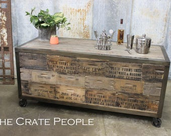 FREE SHIPPING - Crate Face Industrial Service Cart or Coffee Cart on casters -- Custom Made Cart with Barn Wood and Farm Crates