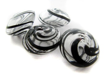 4 White and Black Blown Glass Beads - CG499