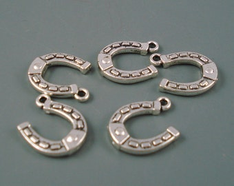 Horseshoe Charms, Five Pieces,18MM Silver Horseshoe Charms