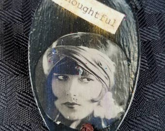 Vintage Girl Altered Spoon Necklace   Thoughtful    Funky Fun!