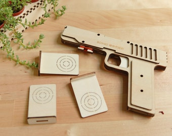 4 Shot Rubber Band Gun With Targets