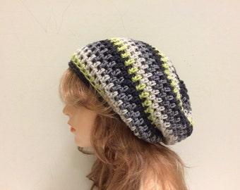 Crochet Slouchy Hat - GREY/LIME/LINEN