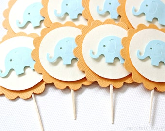 24 Orange and Blue Baby Elephant Cupcake Toppers, Boy Baby Shower, Birthday, Party Decorations
