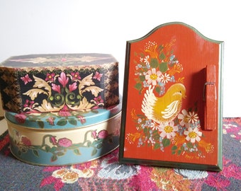 Vintage Recipe Stand, Tole Painted Wood Note Holder, Bird and Flowers Signed and Dated 1979