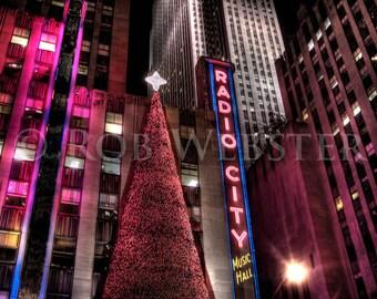 Radio City Music Hall, Christmas, New York City, 8x10 HDR Fine Art Photo Print
