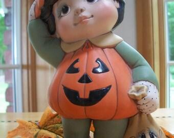 ceramic pumpkin boy tot trick or treater