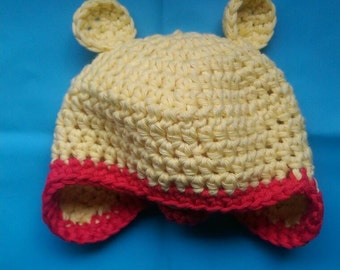 Crochet Winnie the Pooh inspired ear flap hat