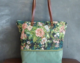 Zippered Tote bag, floral upholstery fabric and ribbon
