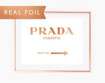 Prada Marfa with Real Copper Foil Art Print 8x10, A3, A4, A5