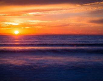 Sunset on Beach Surf Photography Decor Print Ocean Hawaii, Maui, Oahu, Kauai, Tropical, Hawaiian Island, California, Florida