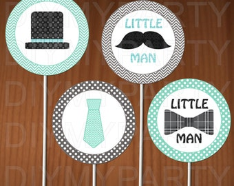 Printable Cupcake Toppers Little man Cupcake Toppers Little man party baby boy party decor birthday party Birthday decoration favor tags diy