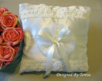 Cream ring bearer pillow, wedding ring pillows, satin and lace