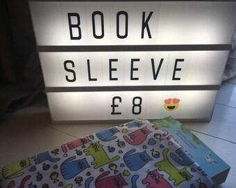 Multi-coloured Cat Book Sleeve, Lightly Padded, Handmade, UK Seller
