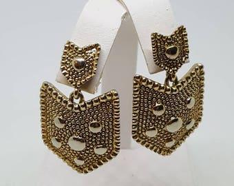 Drop earrings gold tone shield shape earrings signed R dangle earrings gift for her birthday gift