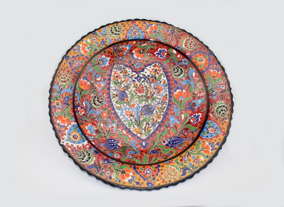 sc 1 st  CappadociaArts & KUTAHYA Raised Floral Design Turkish Handmade Ceramic Plate