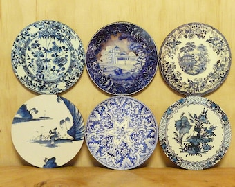 Set of 6 coasters - 95mm - Vintage Plate Patterns - Set 5