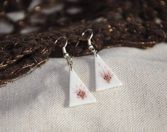 Limoges porcelain triangle earring