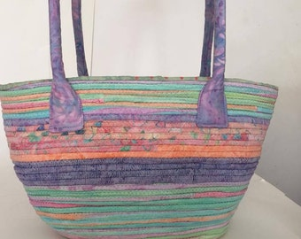 Fabric Clothesline Bag, Coiled Rope Easter colors