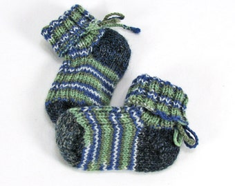 Merino Wool Baby Socks, Fits 0-6 months, Hand Knit, Sage Green, Blue,Plumb, White, Hypoallergenic - READY TO SHIP