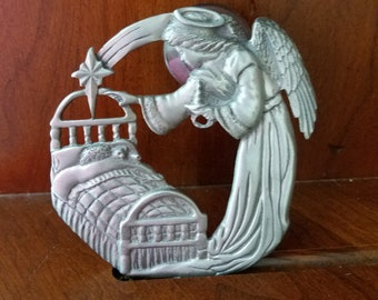 Pewter Guardian Angel In Childs Bedroom Window Decor