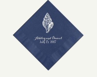 Navy Blue Cocktail Napkins Seashell Design | Personalized (3 Ply) Navy Blue Beverage Napkins | Custom Blue Appetizer And Dessert Napkins